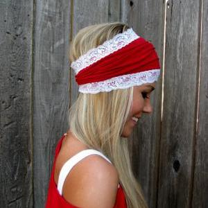 Red Cotton Jersey Knit Headband wit..