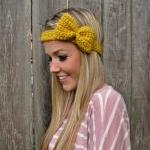 Mustard Bow Headband with Natural V..