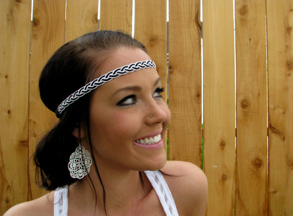 Bohemian Indie Hippie Chic White and Black Braided Satin Cord Headband w/ Black Stretch Elastic and Ribbon Cover