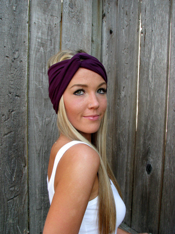 Vintage Turban Style Stretch Jersey Knit Headband in Plum - Multi Ways to  Wear 2e2ff1bca8f