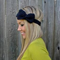 Navy Blue Bow Headband with Natural Vegan Coconut Shell Buttons - Adjustable